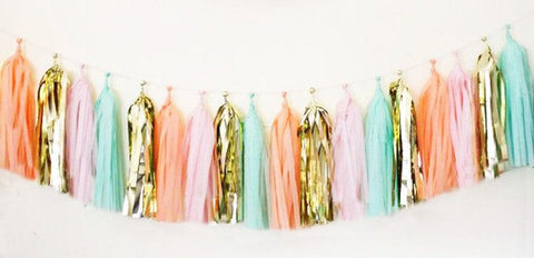 Coral, Gold, Pink and Mint tassel garland, Coral, Gold, Pink and Mint  tissue tassels for weddings, birthdays, and bachelorette party decor