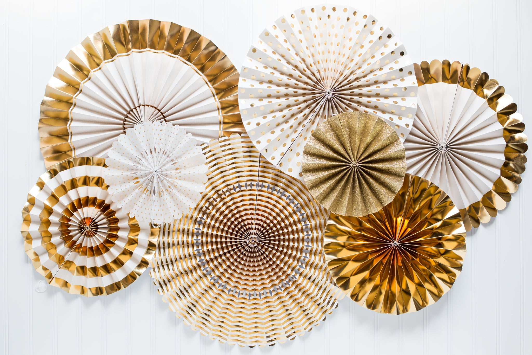 Gold Party Fans, Rosettes Backdrops for Birthdays, Baby Showers, Weddings, New Year's, and Anniversary