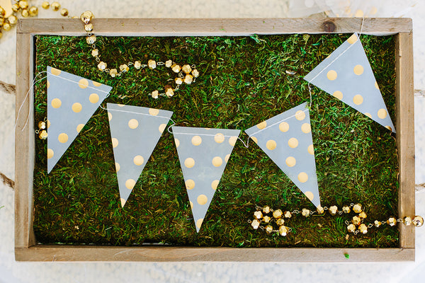 Gold and White Pennant Banner Garland for Birthdays, Weddings, Baby Showers, and Anniversaries