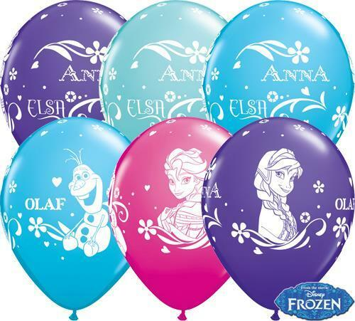 Disney Frozen Birthday Balloons with Anna and Elsa. Perfect for Disney Princess Party Decor