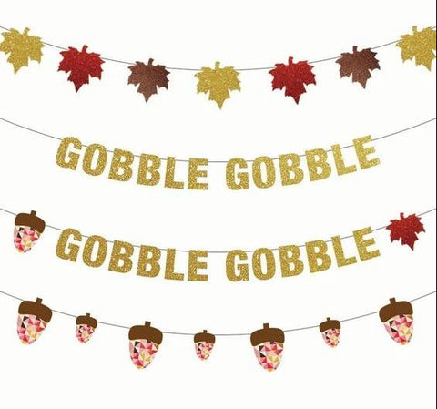 Gobble Gobble, Fall Leaves, or Acorn Thanksgiving Banners