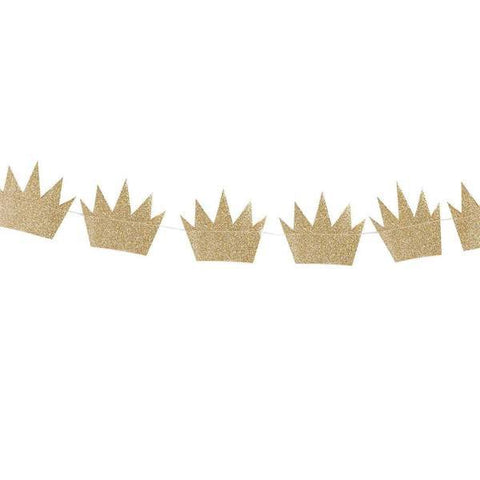 Crown Glitter Banner Garland
