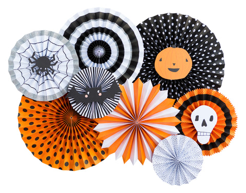 Halloween Party Party Fans, Rosettes Backdrops, Black and Orange