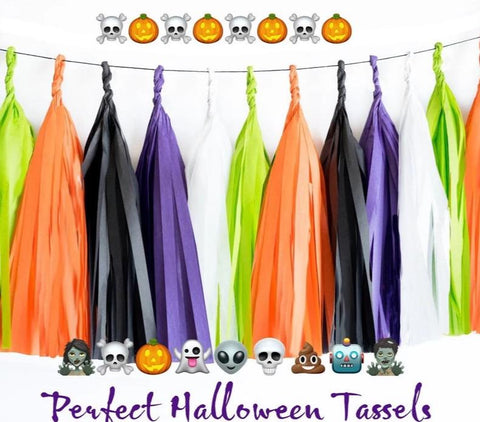 Lime green, Orange, Black, Purple and White tassel garland, Lime green, Orange, Black, Purple and White tissue tassels for Halloween, birthdays, and bachelorette party decor
