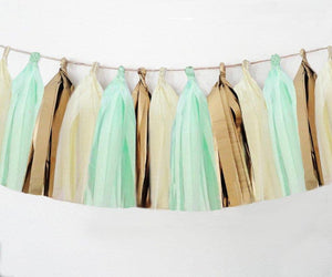 Ivory, Mint, Vintage Gold tassel garland, Ivory, Mint, Vintage Gold tissue tassels for weddings, birthdays, and bachelorette party decor