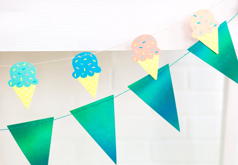 Iridescent Blue Pennant Banner, Pennant Banner Garland for Birthdays, Weddings, Baby Showers, and Anniversaries