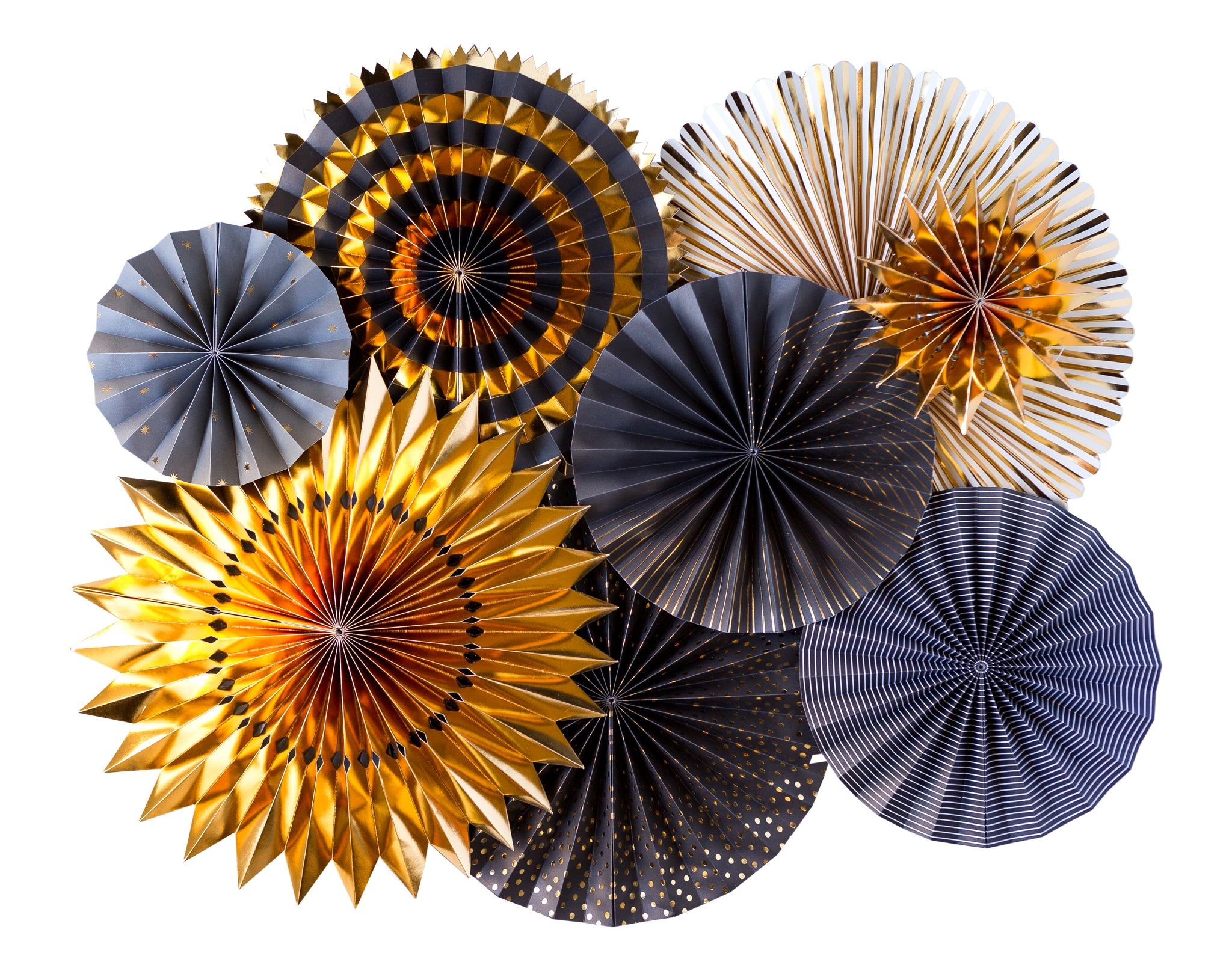 Black & Gold Party Fans, Rosettes Backdrops for Birthdays, Weddings, Graduation, New Years, and Anniversary