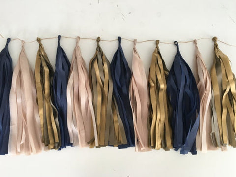 Navy Blue, Blush and Vintage Gold tassel garland, Navy Blue, Blush and Vintage Gold tissue tassels for weddings, birthdays, and bachelorette party decor