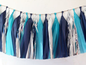 Navy Blue, Aquamarine and Silver tassel garland, Navy Blue, Aquamarine and Silver tissue tassels for weddings, birthdays, and bachelorette party decor