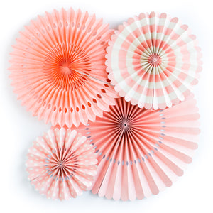Coral and White Party Fans, Rosettes Backdrops for Birthdays, Baby Showers and Bachelorette Parties