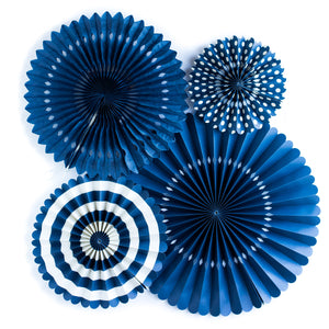 Navy Blue Party Fans, Rosettes Backdrops for Birthdays, Baby Showers and Bachelorette Parties