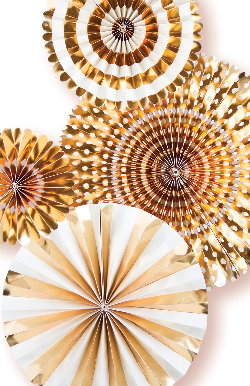 Gold Party Fans, Rosettes Backdrops for Birthdays, Baby Showers and Bachelorette Parties