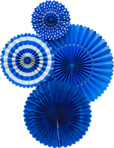 Royal Blue Party Fans, Rosettes Backdrops for Birthdays, Baby Showers and Bachelorette Parties