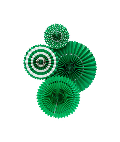 Green Party Fans, Rosettes Backdrops for Birthdays, Baby Showers and Bachelorette Parties