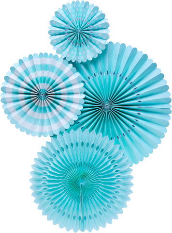 Light Blue Party Fans, Rosettes Backdrops for Birthdays, Baby Showers and Bachelorette Parties