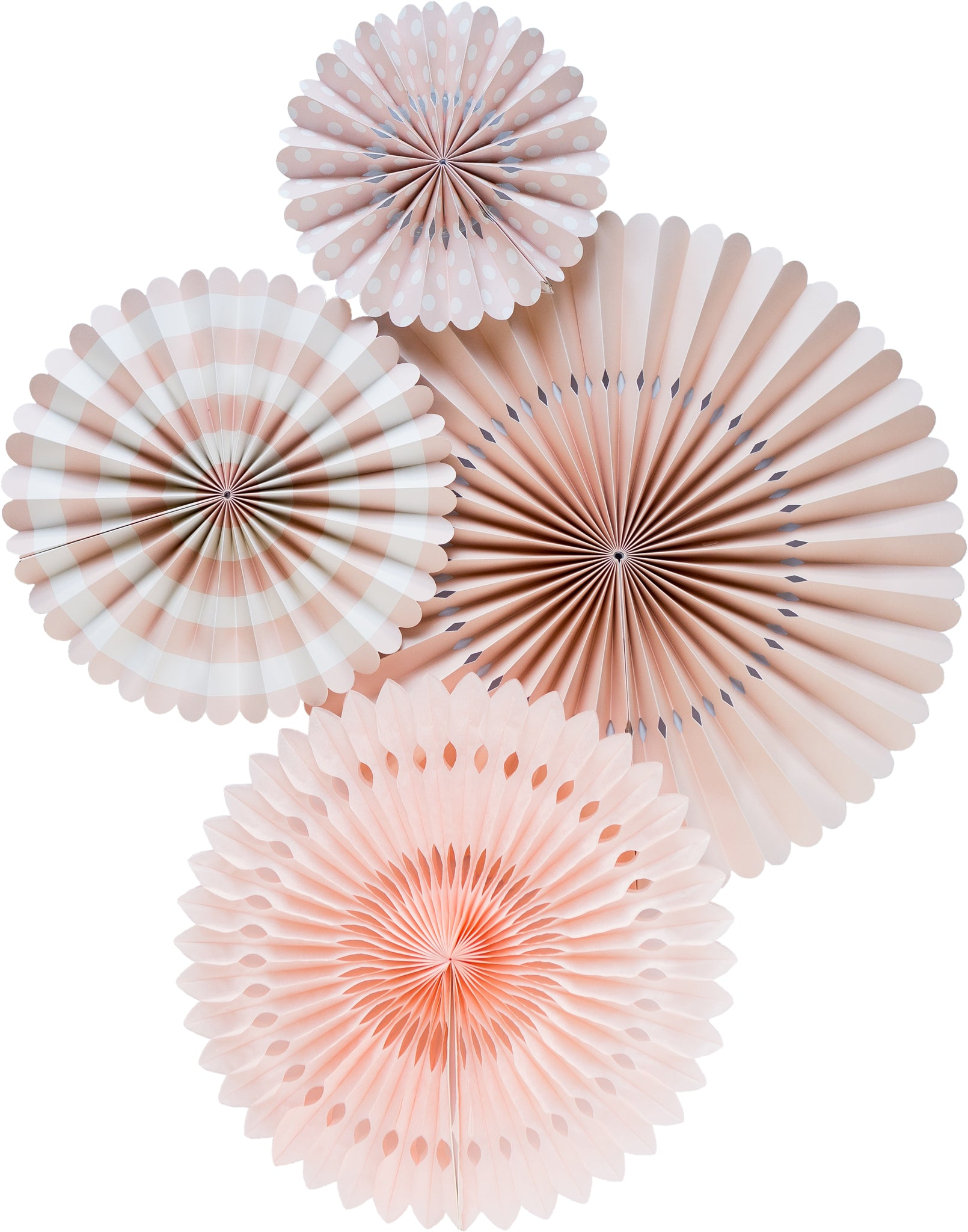 Light Pink Party Fans, Rosettes Backdrops for Birthdays, Baby Showers and Bachelorette Parties