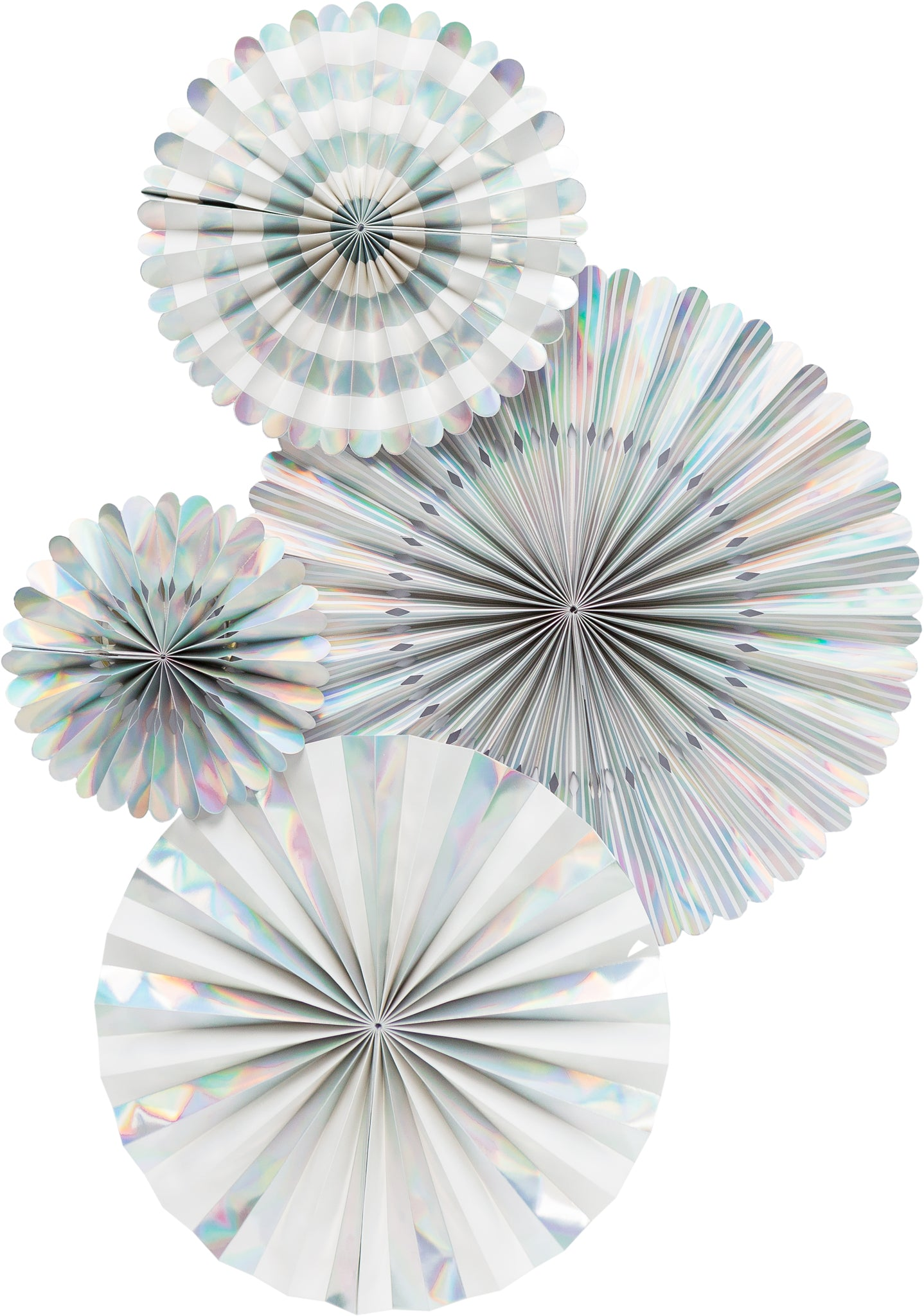 Silver Holographic Party Fans, Rosettes Backdrops for Birthdays, Baby Showers and Bachelorette Parties