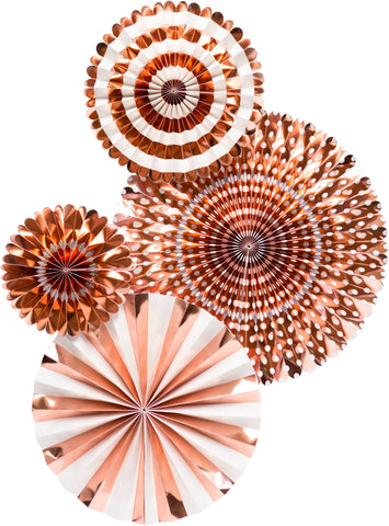 Rose Gold Party Fans, Rosettes Backdrops for Birthdays, Baby Showers and Bachelorette Parties