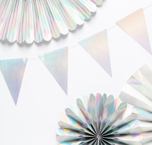 Holographic Pennant Banner, Pennant Banner Garland for Birthdays, Weddings, Baby Showers, and Anniversaries
