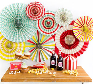 Carnival or Circus Party Fans, Rosettes Backdrops for Birthdays, Baby Showers, Cinco De Mayo, and Anniversary