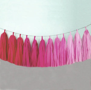 Pink Ombre tassel garland, Pink Ombre tissue tassels for weddings, birthdays, and bachelorette party decor