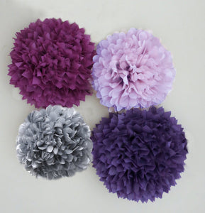 Purple, Plum, Lavender, and Grey Tissue Paper Pom set of 4