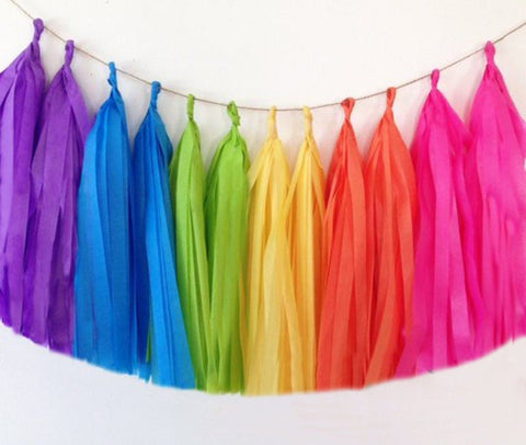Rainbow tassel garland, Rainbow tissue tassels for weddings, birthdays, and bachelorette party decor