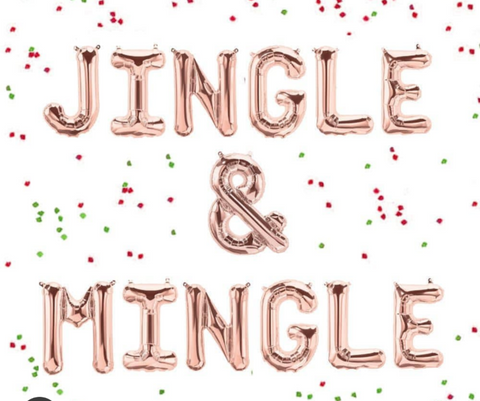 "Jingle & Mingle balloons in rose gold, gold or silver 16"" Christmas Balloon Banner"