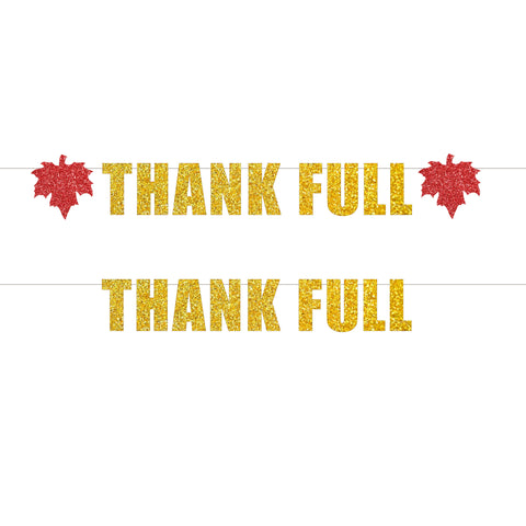 Thank Full or Thank Full w/ 2 Red Maple Leaves Thanksgiving Banners