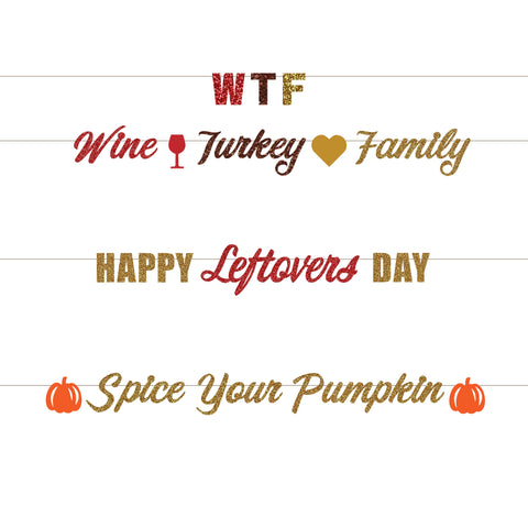 WINE TURKEY FAMILY: WTF Thanksgiving Banner, Happy Leftovers Day Banner, Spice Your Pumpkin Banner