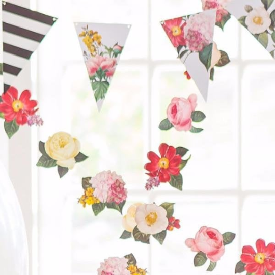 Botanical Pennant Banner Garland for Birthdays, Weddings, Baby Showers, and Anniversaries