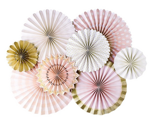 Pink and Gold Party Fans, Rosettes Backdrops for Birthdays, Baby Showers, and Anniversary