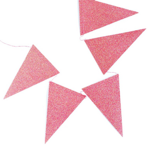 Pink Iridescent Glitter Pennant Banner Garland for Birthdays, Weddings, Baby Showers, and Anniversaries