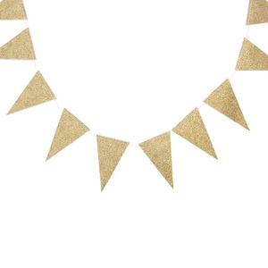 Gold Glitter Pennant Banner Garland for Birthdays, Weddings, Baby Showers, and Anniversaries