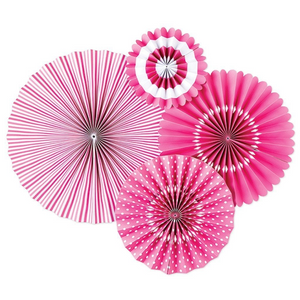 Hot Pink Party Fans, Rosettes Backdrops for Birthdays, Baby Showers and Bachelorette Parties