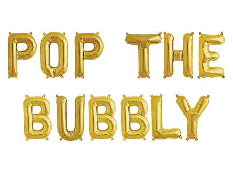 "Pop The Bubbly Holiday Phrase Balloons 14"" tall available in Gold, Rose Gold, and Silver"