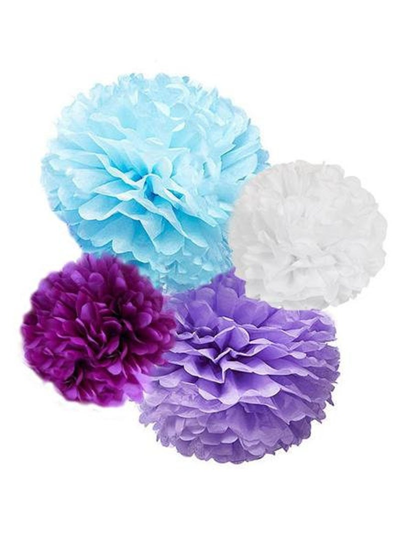 Tissue Paper Pom Poms Kit in Lavender, Light Blue, Plum and White, For Birthday Party, Nursery Decoration, Frozen or Winter- Theme Party