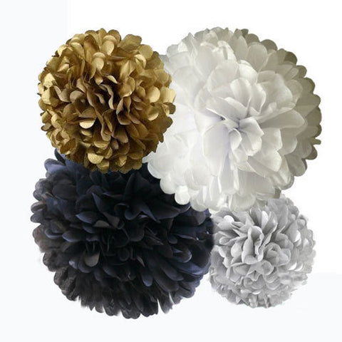 Tissue Paper Pom Poms Kit in Black, White and Gold, For Weddings, New Years Eve, Graduations, and Birthday Parties