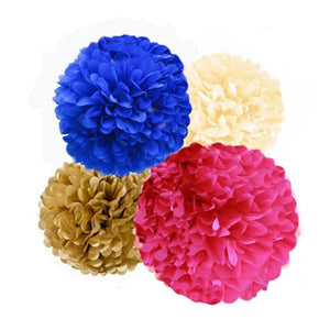Tissue Paper Pom Poms Kit in Hot Pink, Royal Blue, and Gold, for Gender Reveal Parties, Birthday Celebrations and Baby Showers