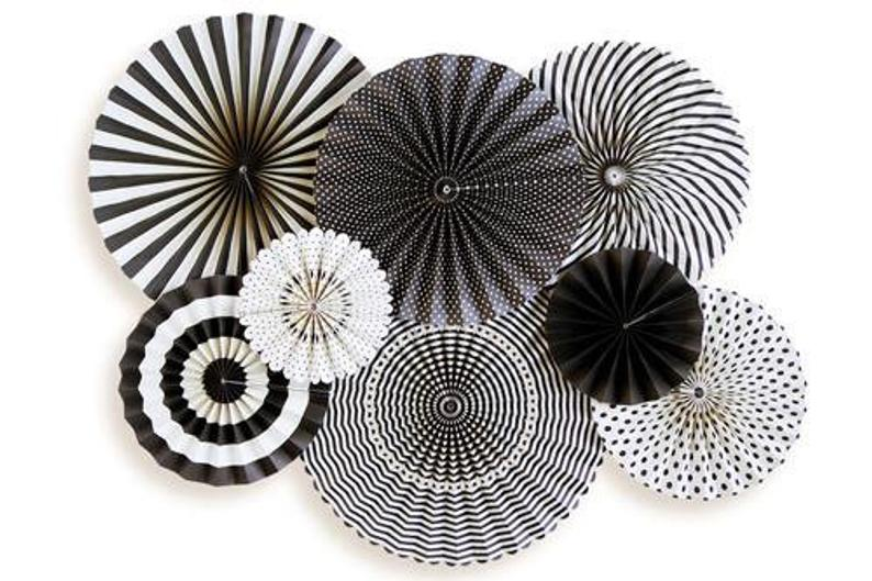 Black & White Party Fans, Rosettes Backdrops for Birthdays, Baby Showers, Halloween, Graduation, and Anniversary