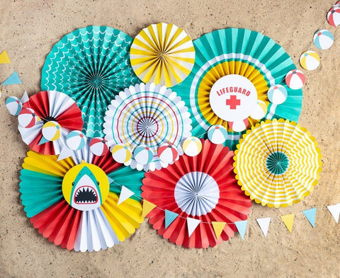 Pool Party Fans, Rosettes Backdrops for Birthdays, Summer Fun, Shark and Swimming Parties