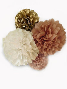 Tissue Paper Pom Poms Kit in Blush-Tan, Ivory, Kraft and Antique Gold, for Weddings, Bridal Showers, and Birthday Parties