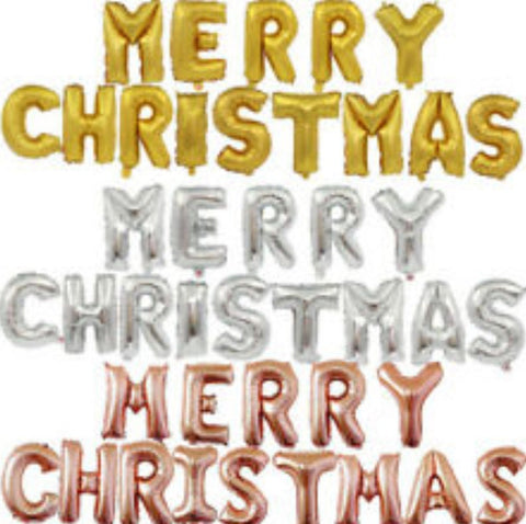 "Merry Christmas Letter Phrase Balloons 14"" tall available in Gold, Rose Gold, and Silver"