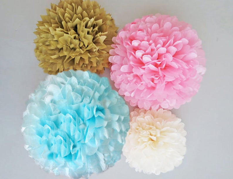 Light Pink, Light Blue, Ivory and Antique Gold tissue paper pom poms kit