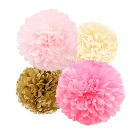 Pink, Antique Gold, Dark Pink and Ivory Tissue Paper Pom Poms