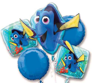 SALE Finding Dory Birthday 5 Piece Balloon Bouquet, Finding Dory Birthday Party, Dory Balloons Foil Balloon Bouquet, Birthday Balloon Disney