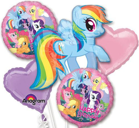 My Little Pony Birthday Balloon Bouquet, 5 Piece Set for Birthdays and Parties Includes Rainbow Dash Shape! Pink and Purple Hearts