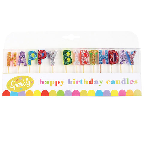 Happy Birthday Candles, SALE Sparkly, Glittery First Birthday, Second Birthday Candles, Rainbow Candles,  Rainbow Glitter Birthday Candles