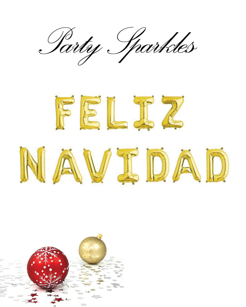 Feliz Navidad balloons Banner, Gold, Rose gold or silver Christmas balloons, Merry Christmas party decor, Holiday decorations