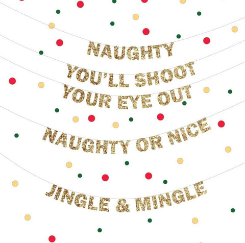 Naughty or Nice Banner Sign for your Christmas holiday party, Jingle & Mingle Banner, Holiday Glitter Banner